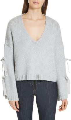 Cinq à Sept Sidel Tie Sleeve Wool Blend Sweater