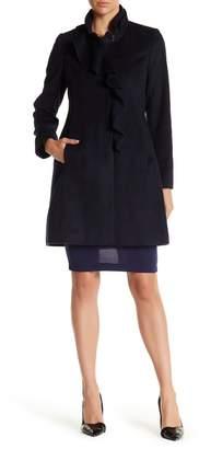 DKNY Ruffle Front Walking Coat
