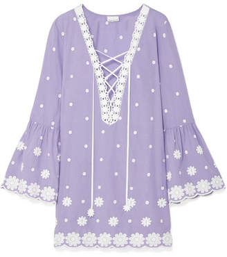 Miguelina Laure Embroidered Cotton-voile Mini Dress - Purple