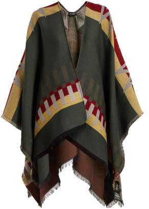 Etro Stripe and star-jacquard wool-blend cape