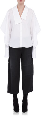 Burberry Burberry Sculptural-Sleeve Cotton Shirt, White
