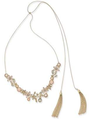 "INC International Concepts I.N.C. Stone Flower & Tassel 60"" Slider Necklace, Created for Macy's"