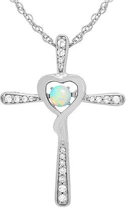 FINE JEWELRY Love in Motion Lab-Created Opal and Diamond-Accent Cross Pendant Necklace