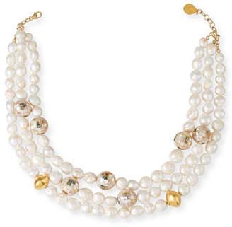 Devon Leigh Multi-Strand Pearl-Gold Accent Necklace