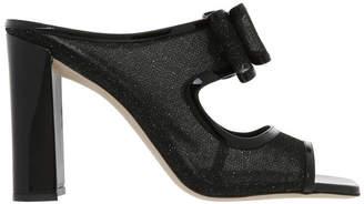 Ballin Black Glitter Mesh Sandal