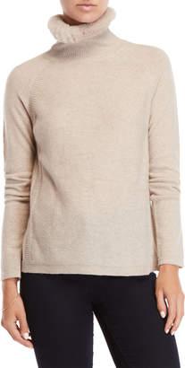 Qi Real Fur Trim Cashmere Sweater