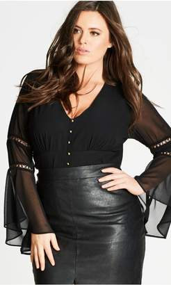 City Chic Citychic Voodoo Vixen Black Bell Sleeve Top
