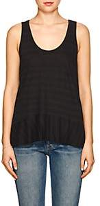 Lilla P WOMEN'S STRIPED COTTON-BLEND PEPLUM TANK-BLACK SIZE XS