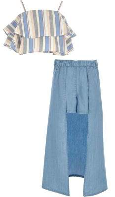 River Island Girls blue stripe top and maxi skort outfit