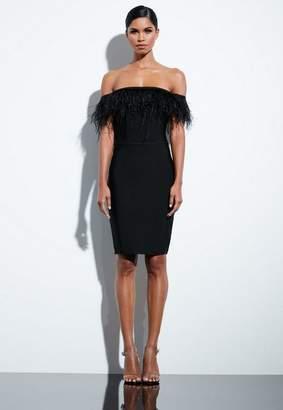 Missguided Black Bandage Feather Midi Dress