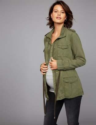 Drawstring Twill Maternity Jacket
