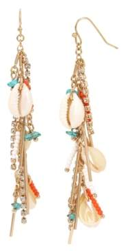 BCBGeneration Shell & Mixed Beaded Stick Linear Earrings