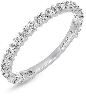 Bony Levy 18K White Gold Prong Set Diamond Stackable Band - 0.34 ctw