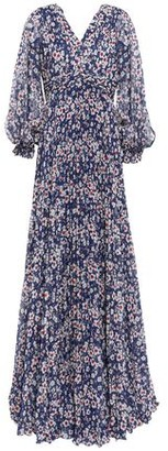 Mikael Aghal Pleated Cutout Floral-print Chiffon Gown