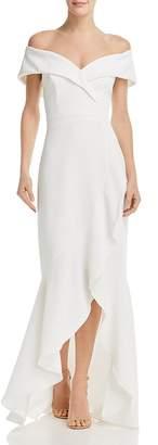 Aqua Off-the-Shoulder Crepe Gown - 100% Exclusive