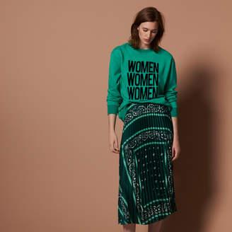 Sandro Long pleated patterned skirt
