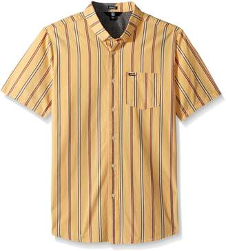 Volcom Men's Mix Bag Short Sleeve Vertical Stripe Button up Shirt