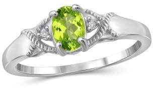 JewelersClub 1/2 Carat T.G.W. Peridot and White Diamond Accent Sterling Silver Ring