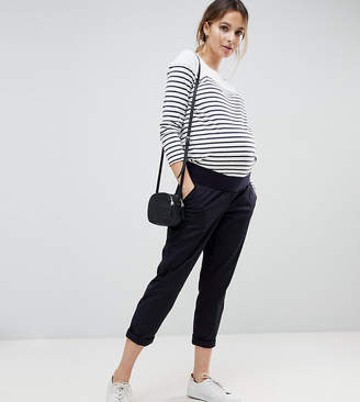 Asos DESIGN Maternity chino pants in navy with under the bump waistband