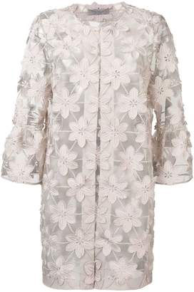 D-Exterior D.Exterior sheer floral embroidered coat