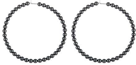 Joomi NYC Large Noir Pearl Hoop Earrings