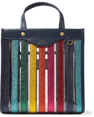 Anya Hindmarch Paneled Metallic Textured-leather And Pvc Tote - Navy