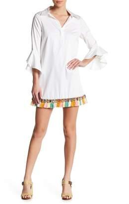 Badgley Mischka Multicolor Fringe Hem Dress