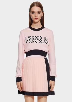 Versace Check VS Logo Cropped Sweatshirt