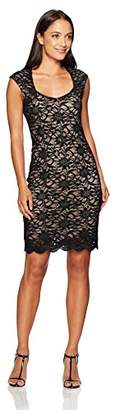 Tiana B Women's Petite Floral Sequence Lace Sheath with Sweetheart Neckline