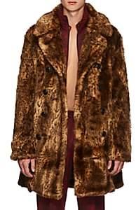 Needles Men's Leopard-Pattern Faux-Fur Oversized Peacoat - Black