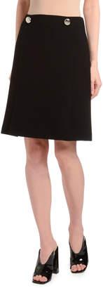 Prada Natte Two-Button Waist A-Line Virgin Wool Skirt