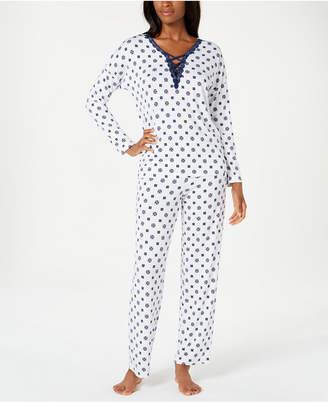 Alfani Lace-Up Printed Knit Pajama Set