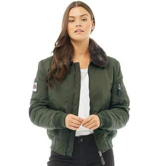 Superdry Womens SDR Winter Flite Jacket Deep Khaki