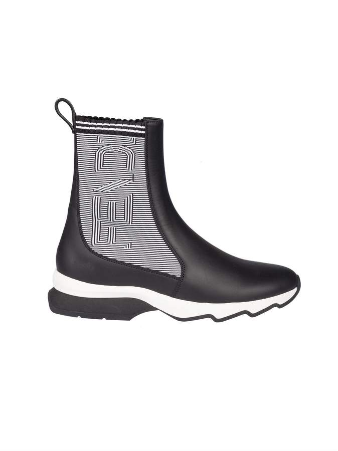 Fendi Ribbed Two-tone Boots