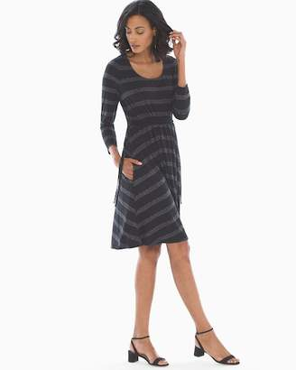Soft Jersey Drawcord Waist Short Dress Sashiko Stripe Black