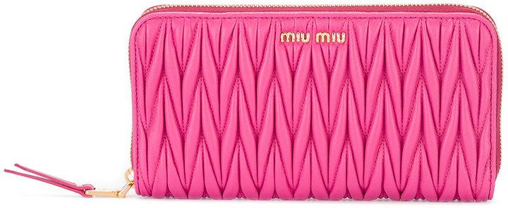 Miu MiuMiu Miu embossed zip around wallet