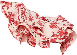 Johanna Ortiz One-shoulder Ruffled Floral-print Bikini Top - Red