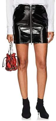 L'Agence Women's Claudia Patent Leather Zip-Front Miniskirt - Black