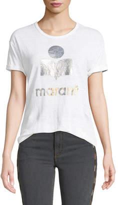 Etoile Isabel Marant Koldi Metallic Logo Linen Tee