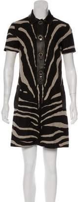 Michael Kors Linen Leather-Trimmed Dress
