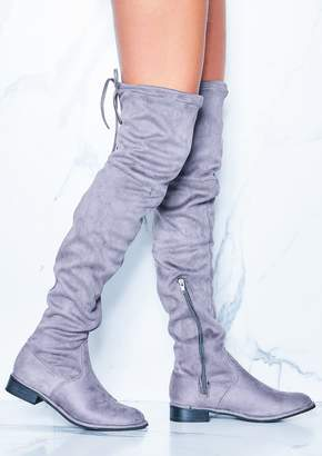 32f0e3b91259 at Missy Empire · Missy Empire Missyempire Maggie Grey Faux Suede Flat  Thigh High Boots
