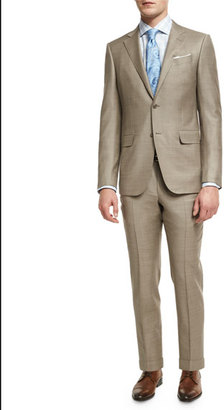 Ermenegildo Zegna Sharkskin Two-Piece Suit, Tan $2,995 thestylecure.com