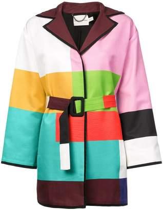 Mary Katrantzou color-block belted coat