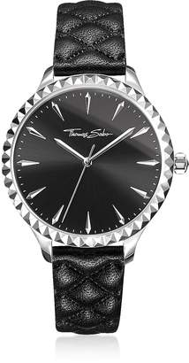 Thomas Sabo Rebel at Heart Silver Stainless Steel and Black Quilted Leather Strap Women's Watch w/Black Dial