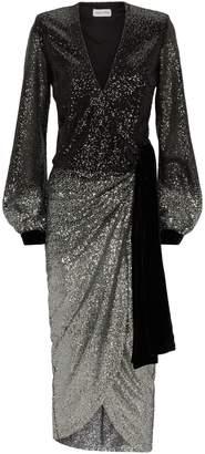 Raquel Diniz Sequin Wrap Jade Dress