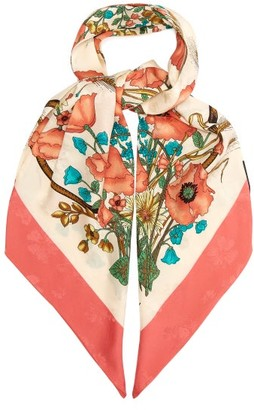 Gucci Floral Print And Jacquard Silk Scarf - Womens - Pink