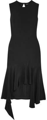Goen J - Asymmetric Silk-crepe Midi Dress - Black