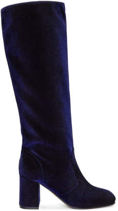 Maryam Nassir Zadeh Navy Velvet Lune Tall Boots
