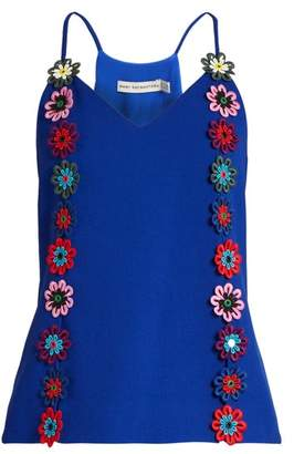 Mary Katrantzou Osbourne Floral Lace Embellished Crepe Cami Top - Womens - Blue