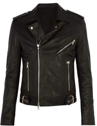 Balmain - Coin Embossed Leather Biker Jacket - Mens - Black